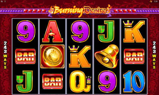Burning Desire Online Pokies Main Screen
