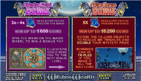 Witches Wealth Online Pokies Bonus Feature Screen
